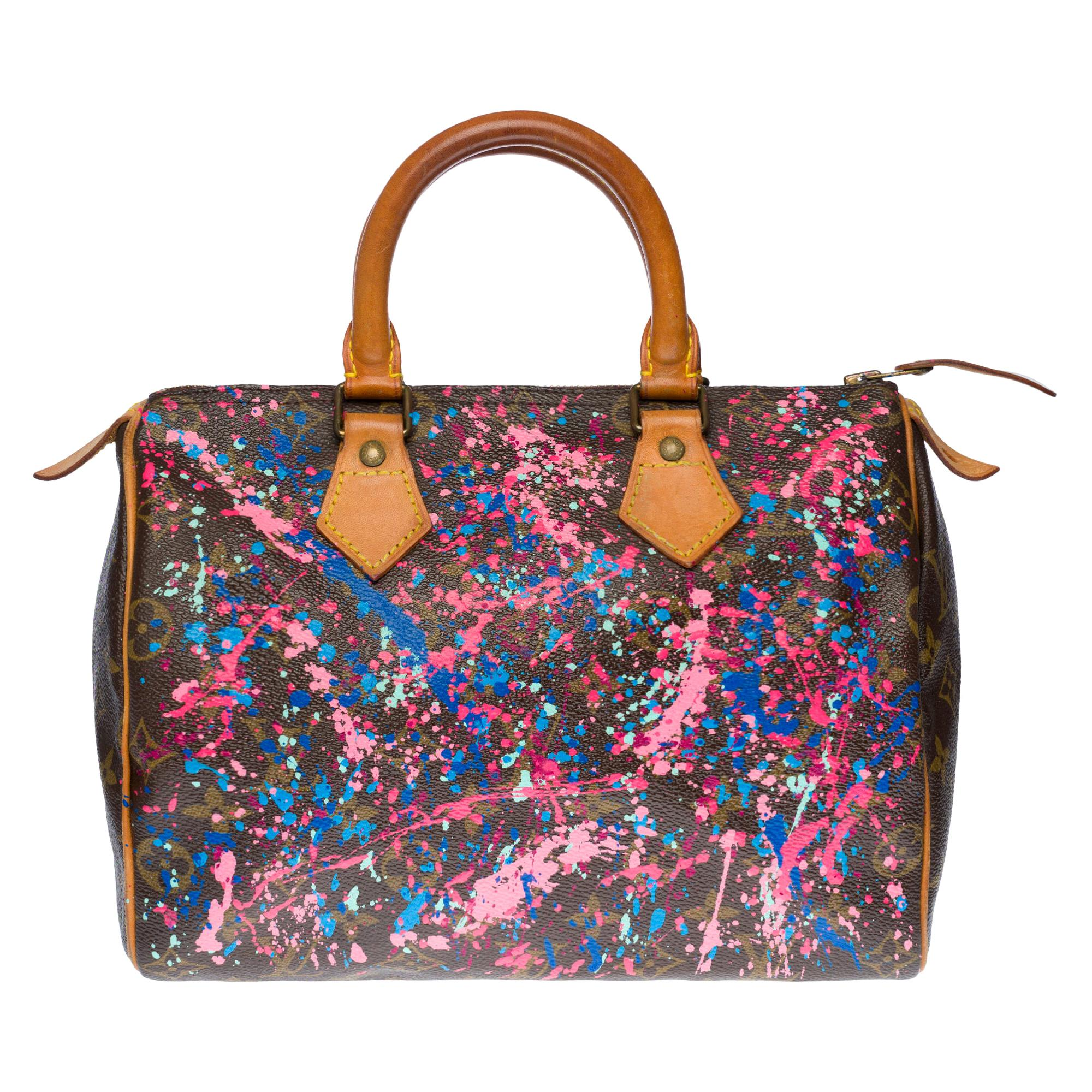 "Customized Louis Vuitton Speedy 25 ""Rainbow"" handbag in Monogram canvas"