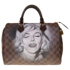"Customized Louis Vuitton Speedy 35 ""Marilyn Monroe"" handbag in brown canvas"