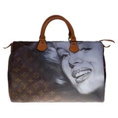 "Customized Louis Vuitton Speedy 35 ""Marilyn Monroe"" handbag in Monogram canvas"
