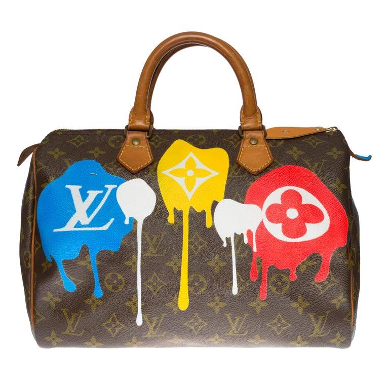 Beautiful Louis Vuitton Speedy 30 handbag in Monogram canvas customized
