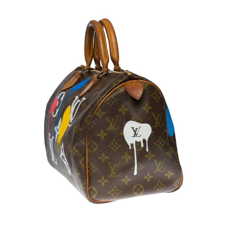 Brown Customized Louis Vuitton Speedy 35