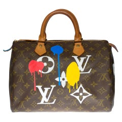 "Customized Louis Vuitton Speedy 35 ""Streety LV"" handbag in Monogram canvas"