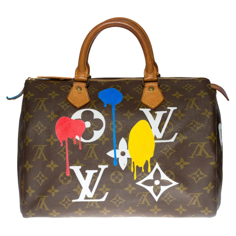 "Customized Louis Vuitton Speedy 35 ""Streety LV"" handbag in Monogram canvas For Sale"