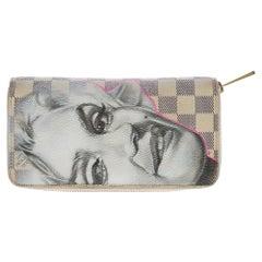 "Customized ""Marilyn Monroe"" Louis Vuitton Zippy wallet in damier azur canvas"
