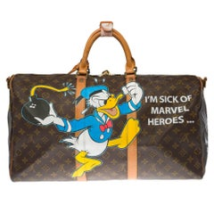 "Customized ""Mickey Vs Wolverine"" Louis Vuitton Keepall 50 with strap Travel bag"