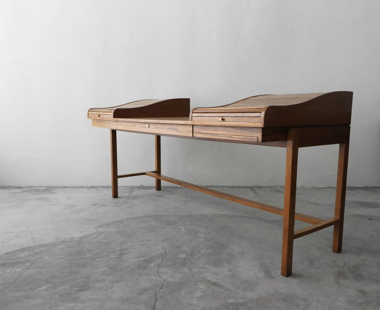 Mid-Century Modern Customized Midcentury Rosewood and Walnut Desk by Edward Wormley for Dunbar