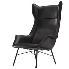 Customized Midcentury Leather Lounge Chair
