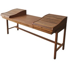 Customized Midcentury Rosewood and Walnut Desk by Edward Wormley for Dunbar