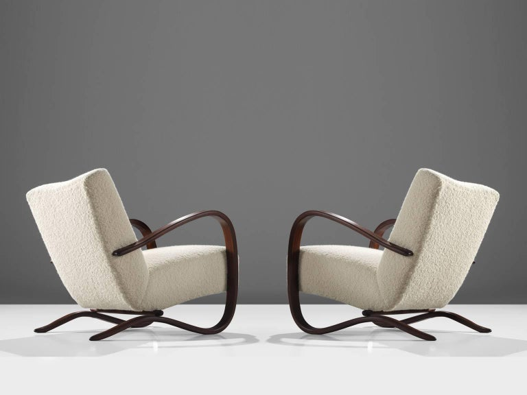 Mid-Century Modern Customized Pierre Frey Halabala Lounge Chairs For Sale