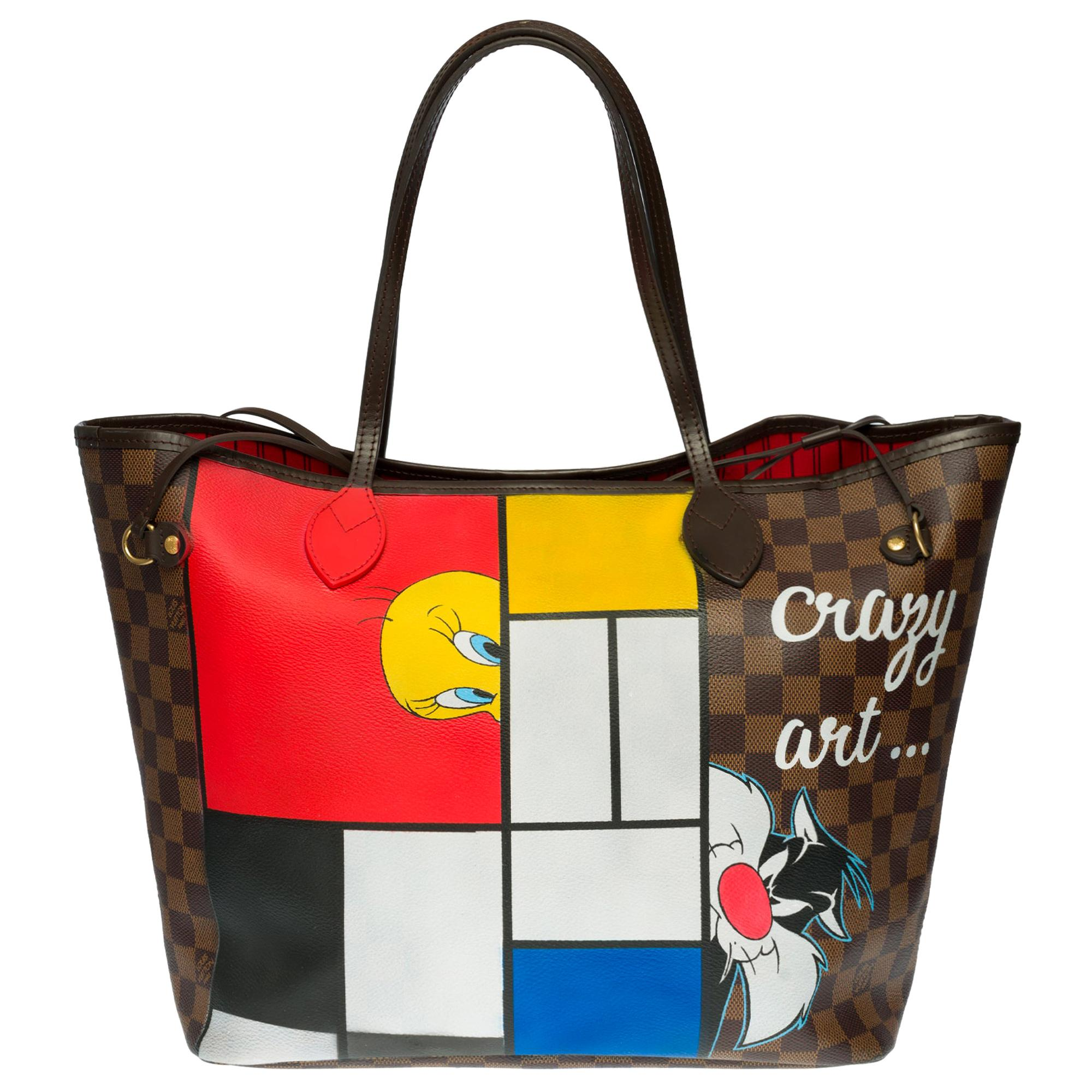 """Customized """"Titi & Grosminet"""" Neverfull MM Tote bag in brown canvas"""