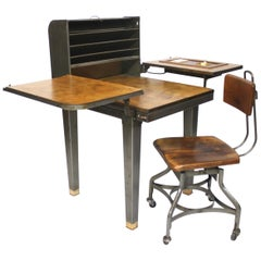 Customized Vintage Industrial Steel Folding Roll Top Desk with Chair by Toledo