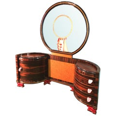 Customized Vintage Italian Design Dressing Table with Mirror and Tongue Handles