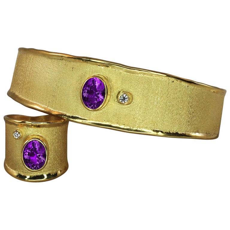 Yianni Creations 18 Karat Solid Gold Diamond Bracelet and Ring Set with Amethyst For Sale