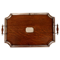 Cut Cornered Edwardian Oak and Silver Plated Tray, Never Engraved, c1900