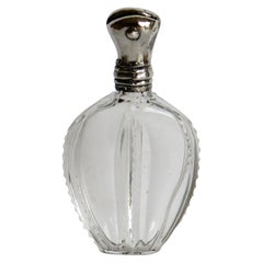 Cut Crystal Glass Perfume Bottle with Silver Top, French, Late 19th Century
