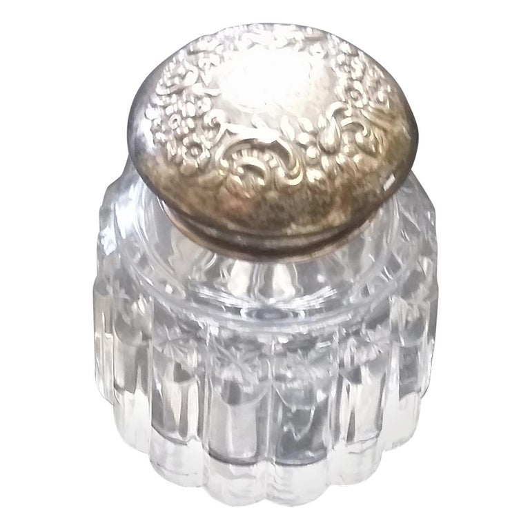 Cut Crystal 20th century Inkwell with Sterling Silver Top For Sale