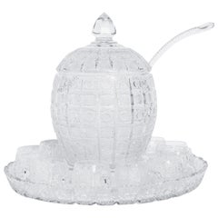Cut Crystal Punch Bowl Set, Czech, circa 1950