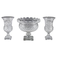 Cut Crystal Set of Vases attributed to Baccarat