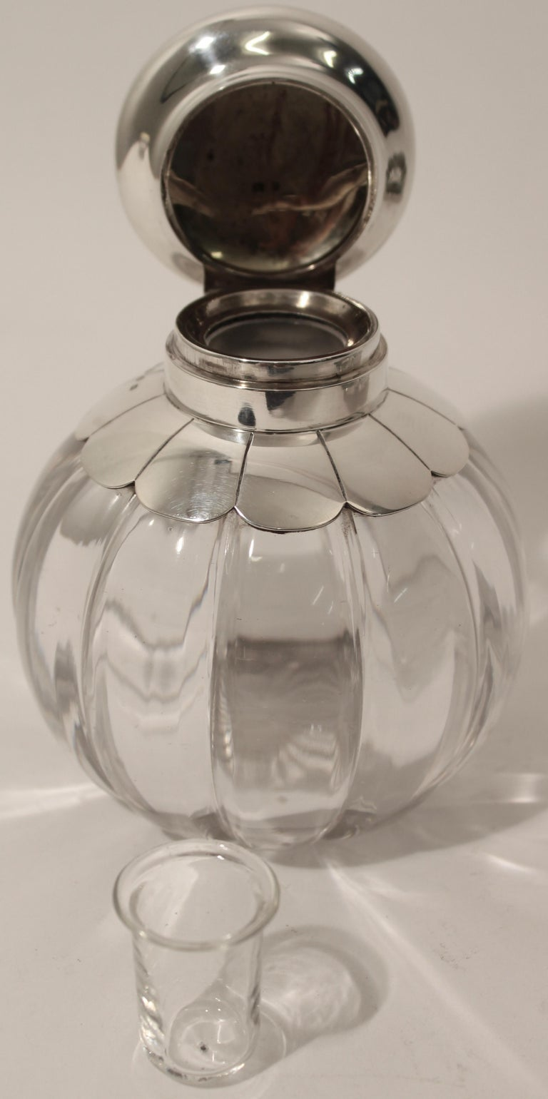 English Cut Crystal Silver Floral Design Inkwell and Base, John Grinsell & Sons, 1890 For Sale