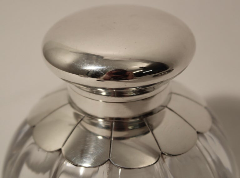 Cut Crystal Silver Floral Design Inkwell and Base, John Grinsell & Sons, 1890 For Sale 1