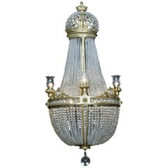 Cut Crystal Tent and Basket Chandelier Attributed to Baccarat, circa 1890
