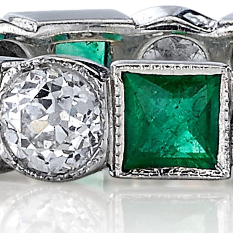 Old European Cut Diamonds and Square Cut Emeralds in a Platinum Eternity Band In New Condition For Sale In Los Angeles, CA
