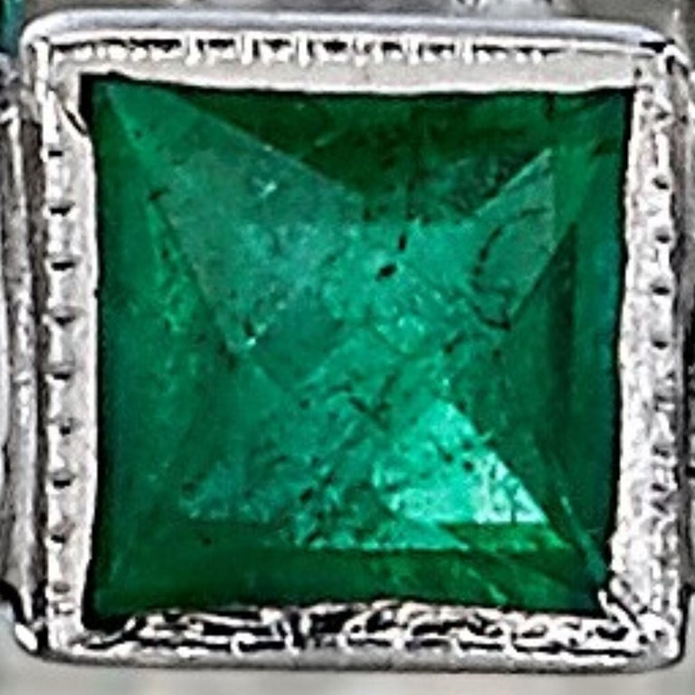 Women's Old European Cut Diamonds and Square Cut Emeralds in a Platinum Eternity Band For Sale