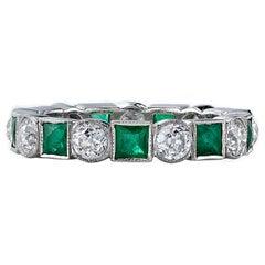 Old European Cut Diamonds and Square Cut Emeralds in a Platinum Eternity Band