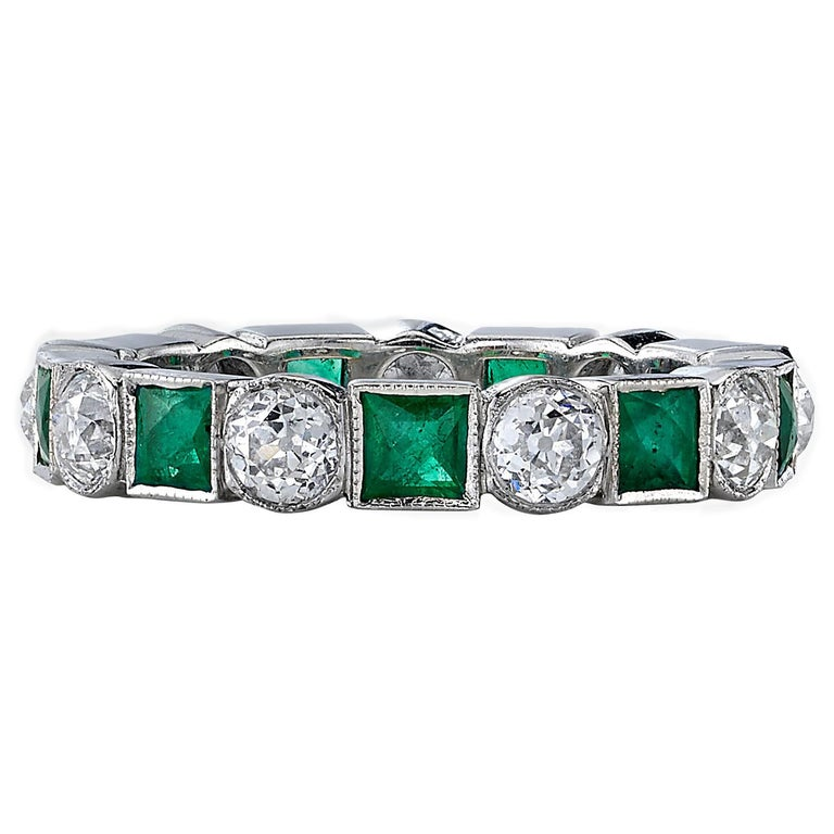 Old European Cut Diamonds and Square Cut Emeralds in a Platinum Eternity Band For Sale