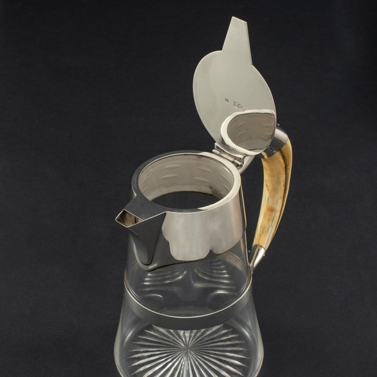 English Cut Glass Claret Jug with Sterling Silver Mounts and Boars Tusk Handle, 1898 For Sale