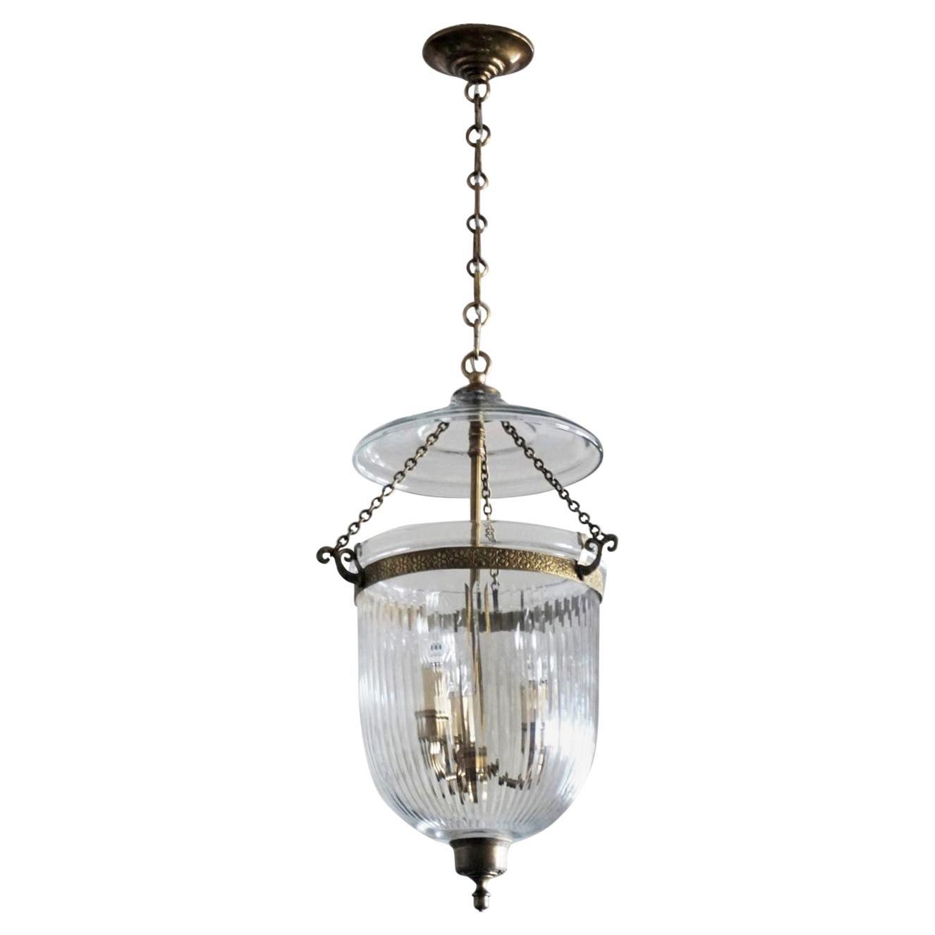 Cut Glass Criytal Bell Jar Lantern, England, circa 1930-1939