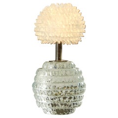 Cut-Glass 'Dandelion' Bedside Lamp with Glass Crystal Shade
