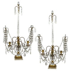 Cut Glass Mounted Ormolu, Rock Crystal and White Marble Three-Light Candelabras