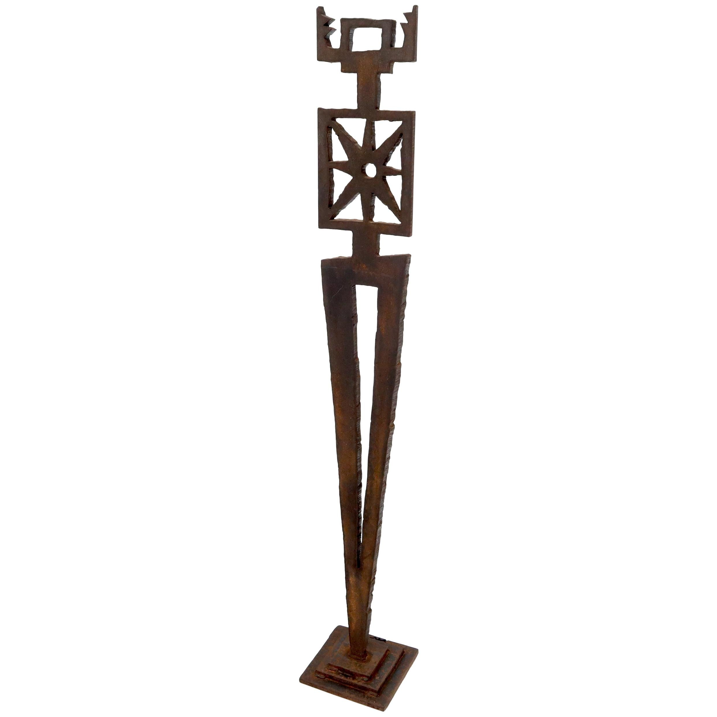 Cut Metal Brutalist Modern Abstract Cut Metal Standing Sculpture