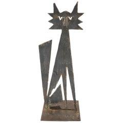 Cut Metal Brutalist Modern Abstract Standing Sculpture of a Cat
