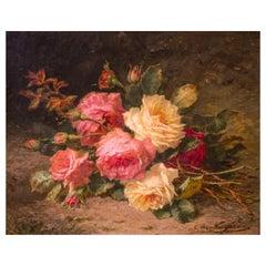Cut Roses 'Cueillette De Roses' Oil on Canvas, 19th Century