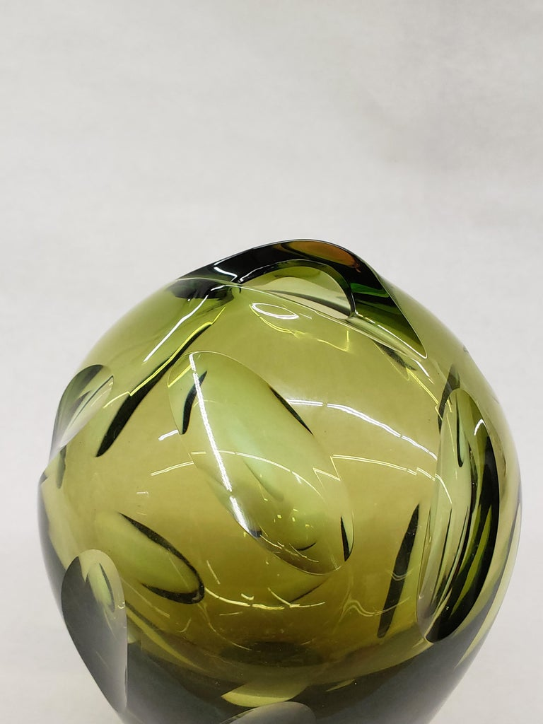 Mid-20th Century Cut Sommerso Glass Vase by Flavio Poli, Murano For Sale