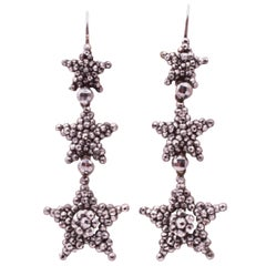 Cut Steel Triple Star Drop Earrings, circa 1840