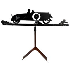 Cut Steel Weathervane with Automobile in Silhouette