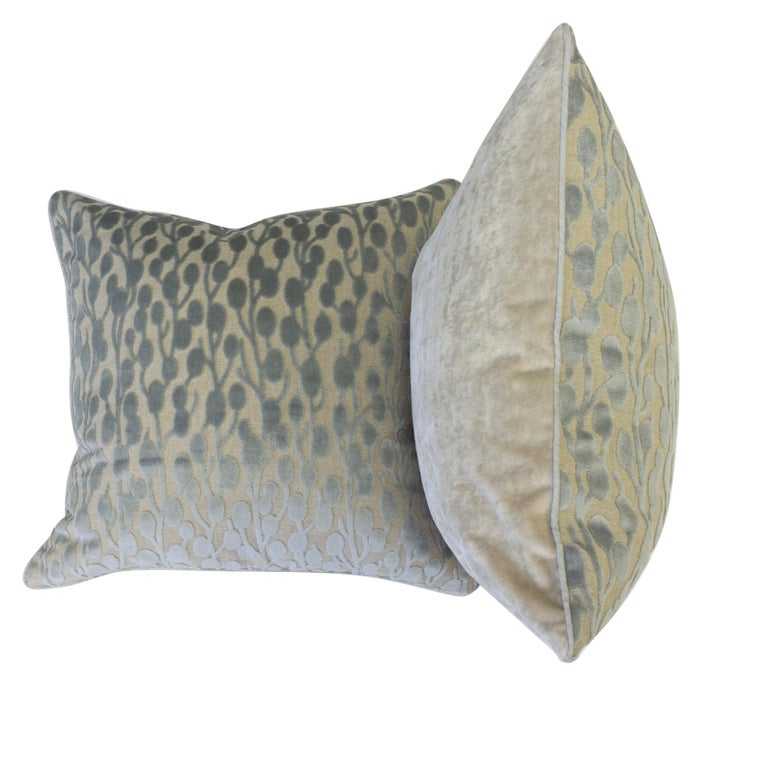 American Cut Velvet Pussy Willow Throw Pillows For Sale