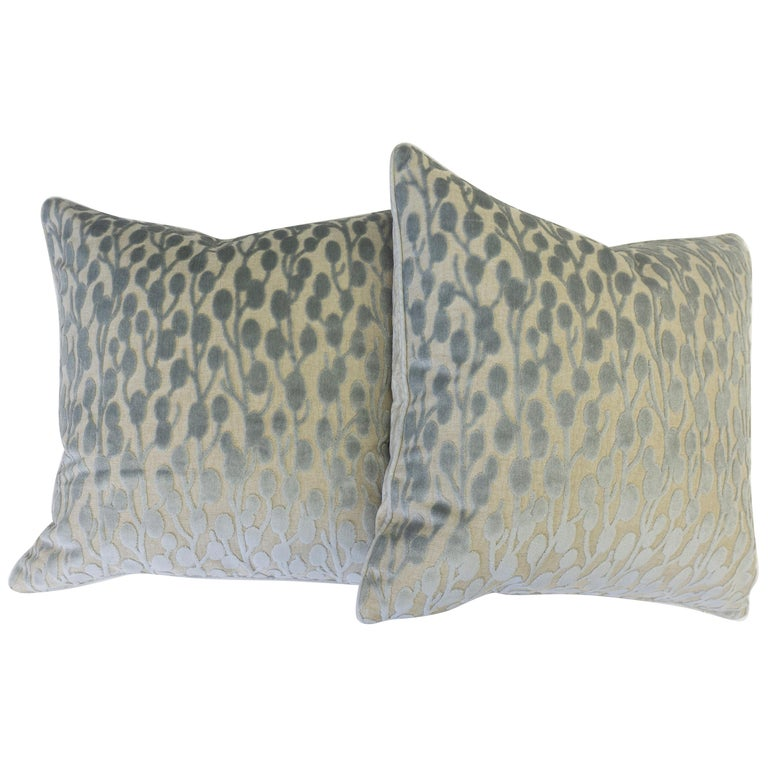 Cut Velvet Pussy Willow Throw Pillows For Sale