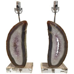 Cutaway Agate Rock 'Lung' Lamps