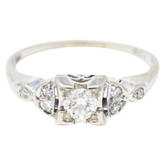 Cute 1940s 14 Karat White Gold Diamond Engagement Ring