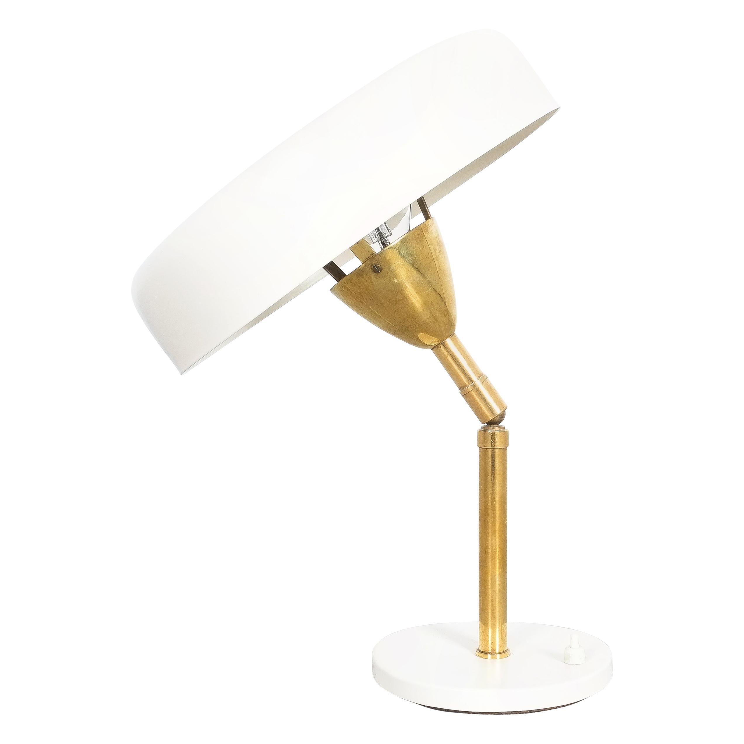 Cute Adjustable Desk Lamp Brass Eggshell Color, Italy Midcentury