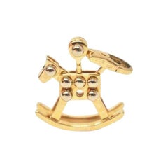 Cute Cartier 18 Karat Two-Tone Gold Rocking Horse Charm