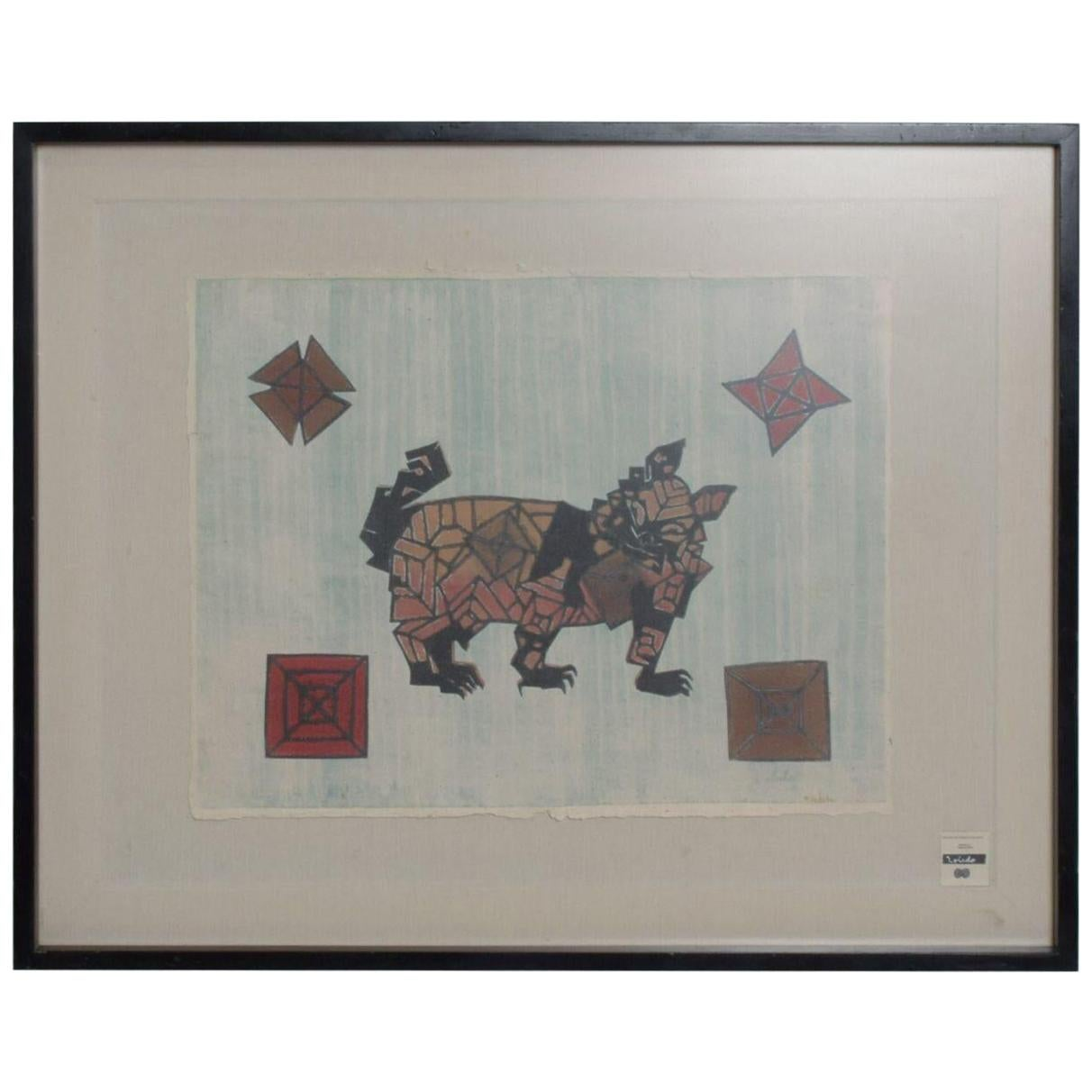 Cute Cat Graphic by Famed Francisco Toledo, Mexican Modernist Art