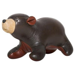 Cute Cuddly Toy Teddy Bear in Leather Mid-Century Modern 1960s Style Abercrombie