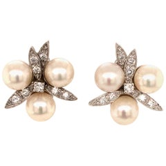 Cute Earclips in White Gold 750 Set with Akoya Cultured Pearls and Diamonds