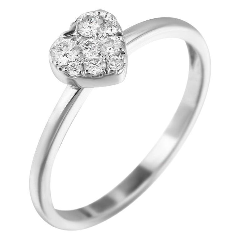 Cute Elegant Heart Diamond White Gold Romantic Ring