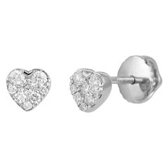 Cute Elegant Heart White Diamond White Gold Stud Earrings